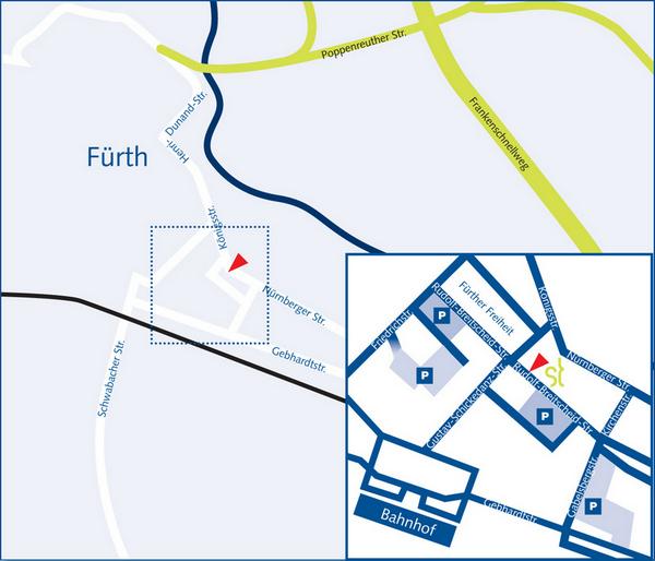 Anfahrtsskizze zur Anwaltskanzlei Thulke-Rinne in Fürth