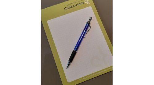Für Ihre Notizen erwartet Sie in der Rechtsanwaltskanzlei Thulke-Rinne ein praktischer Block.